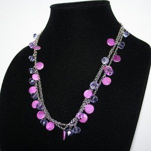 Beautiful silver purple and blue charm necklace 20